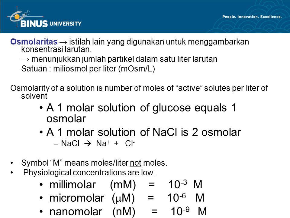 Osmolaritas → istilah lain yang digunakan untuk menggambarkan konsentrasi larutan. → menunjukkan jumlah partikel dalam satu liter larutan Satuan : mil