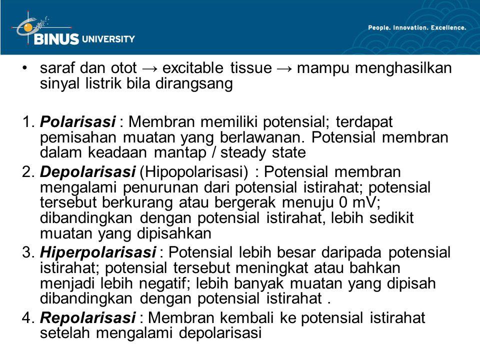 saraf dan otot → excitable tissue → mampu menghasilkan sinyal listrik bila dirangsang 1. Polarisasi : Membran memiliki potensial; terdapat pemisahan m