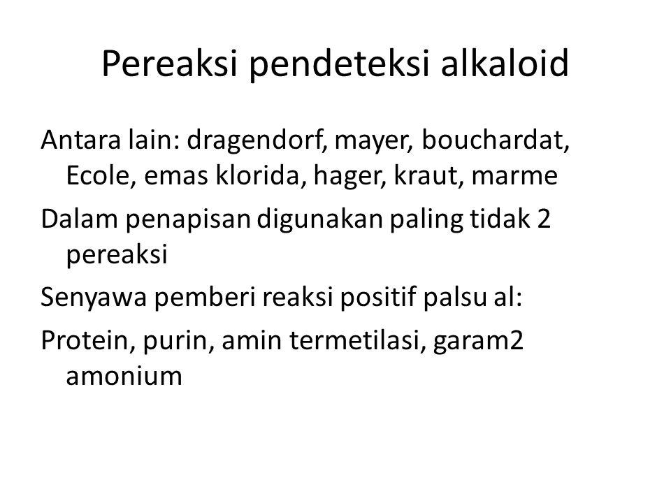 Pereaksi pendeteksi alkaloid Antara lain: dragendorf, mayer, bouchardat, Ecole, emas klorida, hager, kraut, marme Dalam penapisan digunakan paling tidak 2 pereaksi Senyawa pemberi reaksi positif palsu al: Protein, purin, amin termetilasi, garam2 amonium