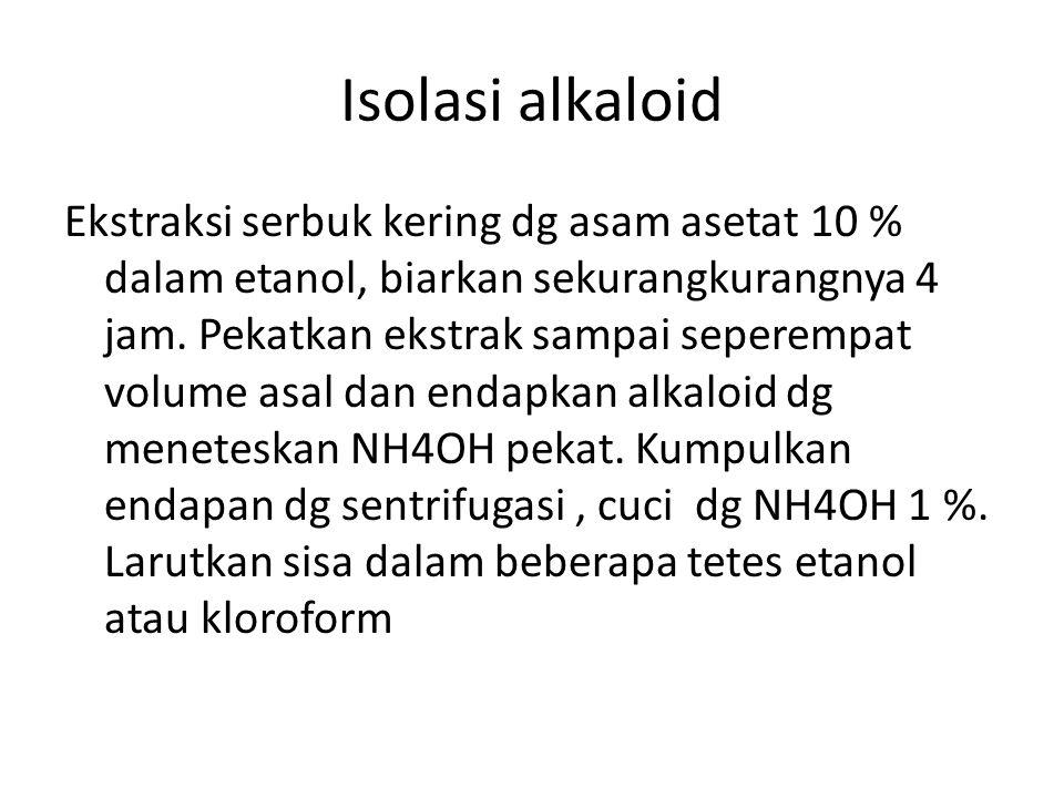 Isolasi alkaloid Ekstraksi serbuk kering dg asam asetat 10 % dalam etanol, biarkan sekurangkurangnya 4 jam.
