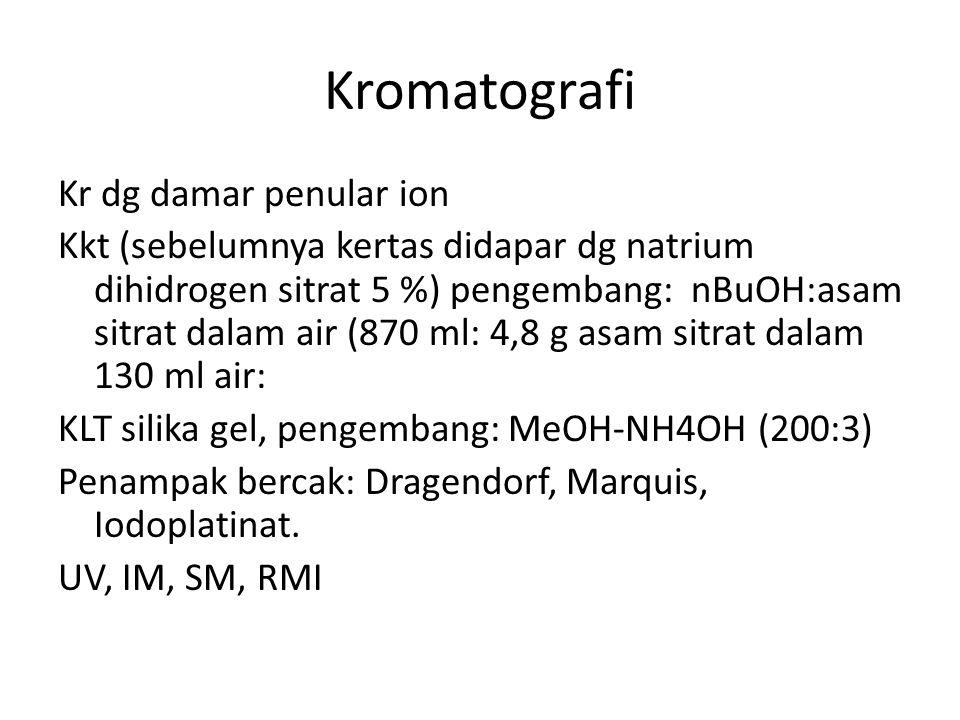 Kromatografi Kr dg damar penular ion Kkt (sebelumnya kertas didapar dg natrium dihidrogen sitrat 5 %) pengembang: nBuOH:asam sitrat dalam air (870 ml: 4,8 g asam sitrat dalam 130 ml air: KLT silika gel, pengembang: MeOH-NH4OH (200:3) Penampak bercak: Dragendorf, Marquis, Iodoplatinat.