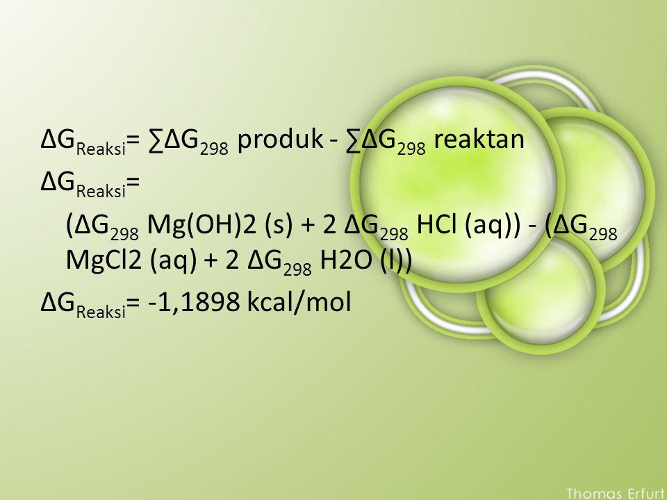 ΔG Reaksi = ∑ΔG 298 produk - ∑ΔG 298 reaktan ΔG Reaksi = (ΔG 298 Mg(OH)2 (s) + 2 ΔG 298 HCl (aq)) - (ΔG 298 MgCl2 (aq) + 2 ΔG 298 H2O (l)) ΔG Reaksi =