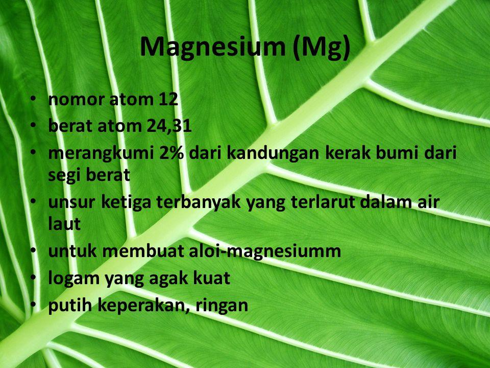 Magnesium (Mg) nomor atom 12 berat atom 24,31 merangkumi 2% dari kandungan kerak bumi dari segi berat unsur ketiga terbanyak yang terlarut dalam air laut untuk membuat aloi-magnesiumm logam yang agak kuat putih keperakan, ringan