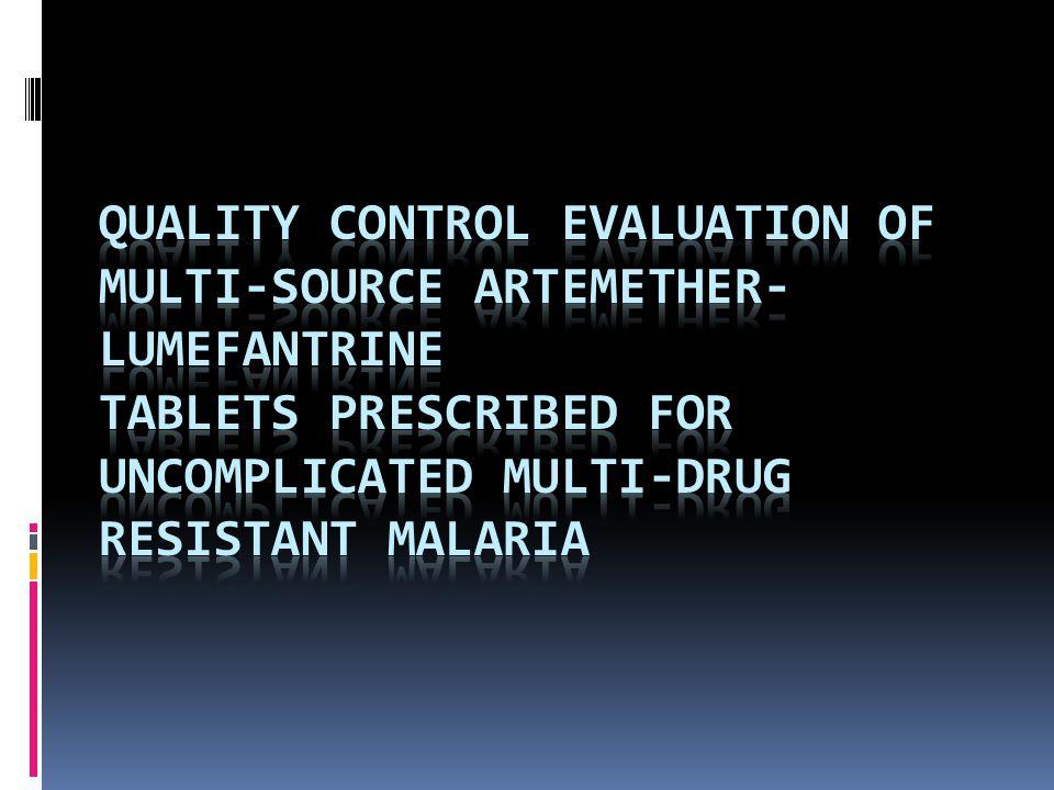  Penelitian ini bertujuan mengevaluasi sifat fisik, parameter kontrol kualitas dan profil disolusi dari sampel komersial tablet artemetherlumefantrine.