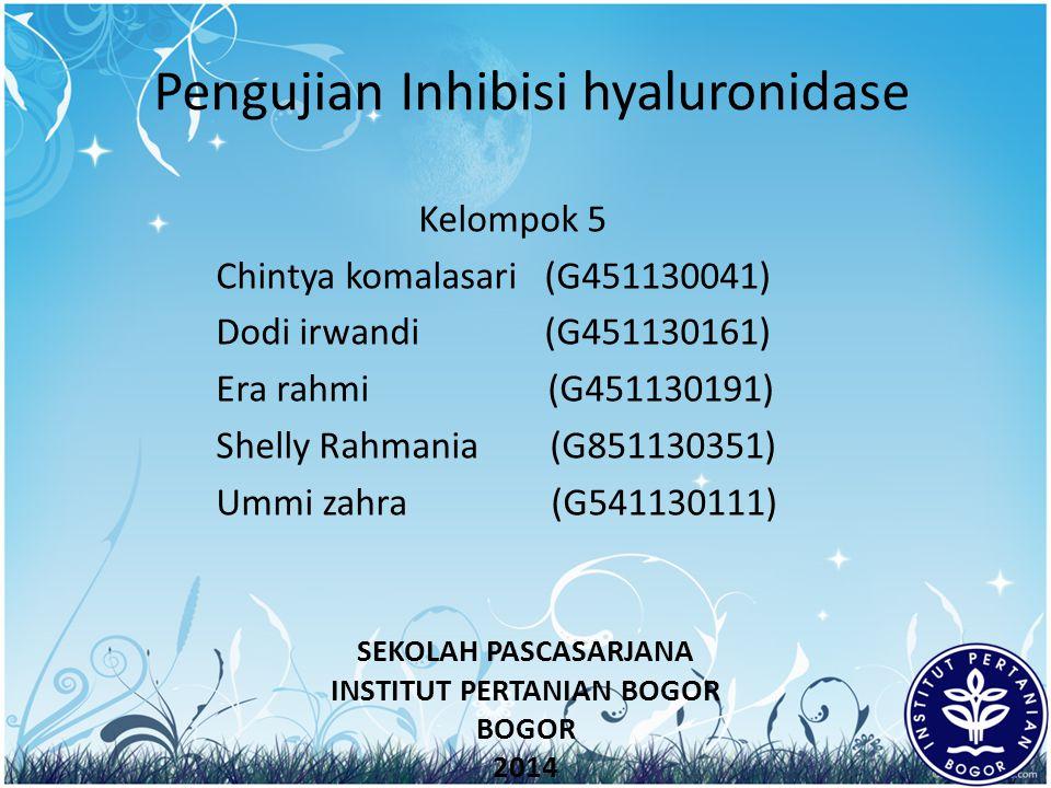 Pengujian Inhibisi hyaluronidase Kelompok 5 Chintya komalasari (G451130041) Dodi irwandi (G451130161) Era rahmi (G451130191) Shelly Rahmania (G8511303