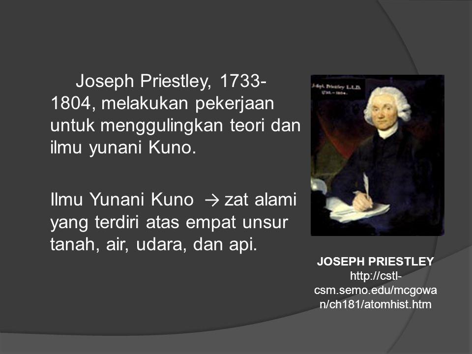 Joseph Priestley, 1733- 1804, melakukan pekerjaan untuk menggulingkan teori dan ilmu yunani Kuno.