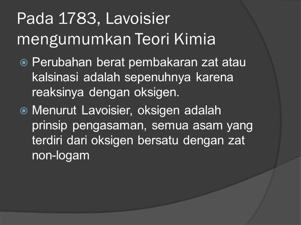 Pada 1783, Lavoisier mengumumkan Teori Kimia  Perubahan berat pembakaran zat atau kalsinasi adalah sepenuhnya karena reaksinya dengan oksigen.