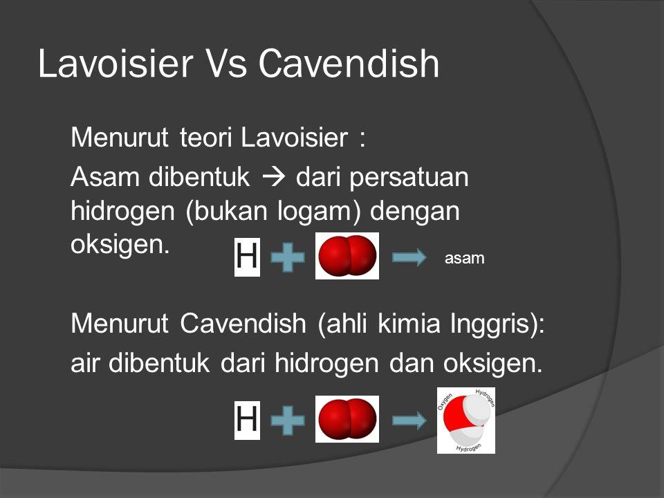 Lavoisier Vs Cavendish Menurut teori Lavoisier : Asam dibentuk  dari persatuan hidrogen (bukan logam) dengan oksigen.