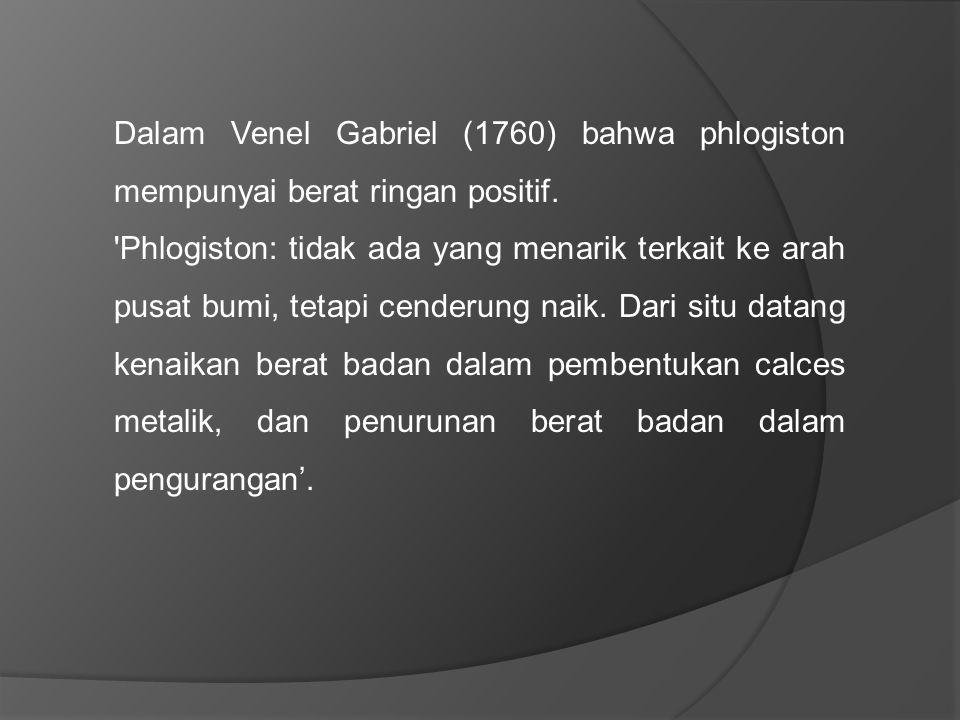 Lavoisier melakukan percobaan untuk mengkonfirmasi Priestley dan Cavendish Menyimpulkan bahwa berat air adalah sama dengan dengan berat pada saat air menguap (menjadi udara).