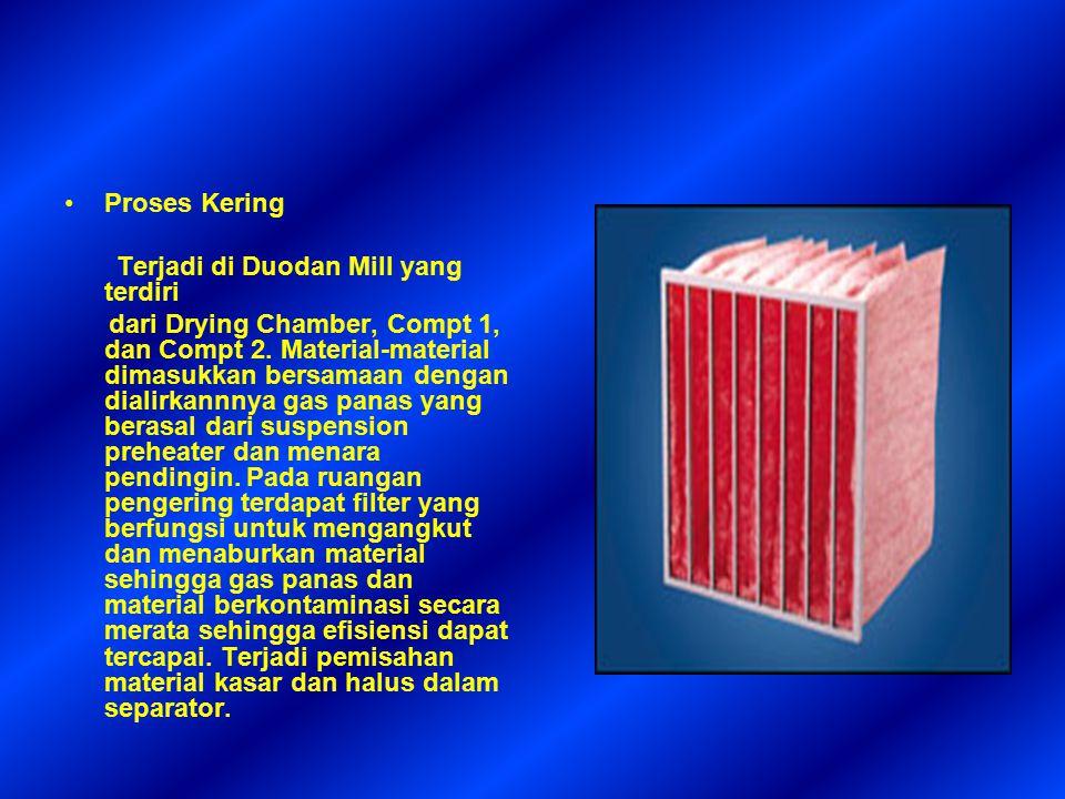 Proses Kering Terjadi di Duodan Mill yang terdiri dari Drying Chamber, Compt 1, dan Compt 2. Material-material dimasukkan bersamaan dengan dialirkannn