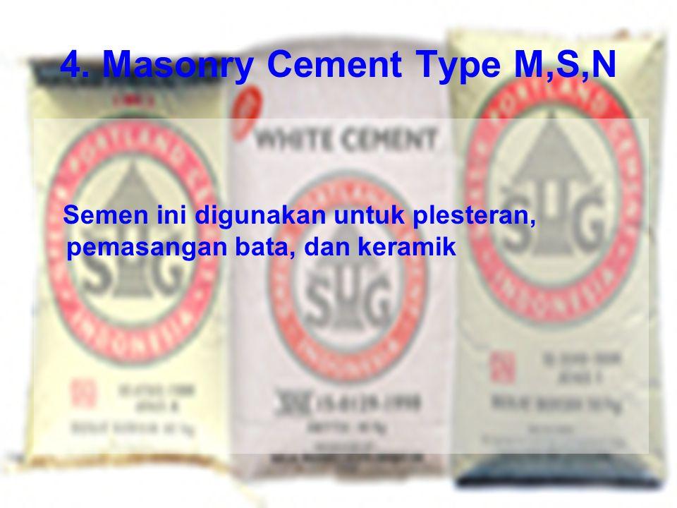 4. Masonry Cement Type M,S,N Semen ini digunakan untuk plesteran, pemasangan bata, dan keramik