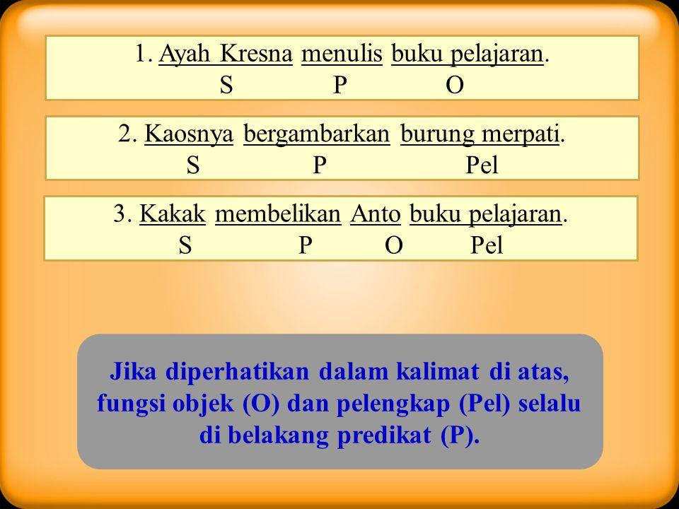 Berdasar ada / tidaknya objek Kalimat transitif : kalimat yang memiliki objek Contoh : Perampok itu memukul Tohir dengan balok. Nita menyapu halaman r