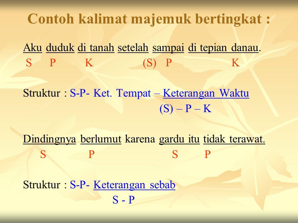 B. Kalimat Majemuk Bertingkat Kalimat majemuk bertingkat adalah : kalimat yang terdiri dari atas sebuah klausa mandiri dan satu atau lebih klausa bawa