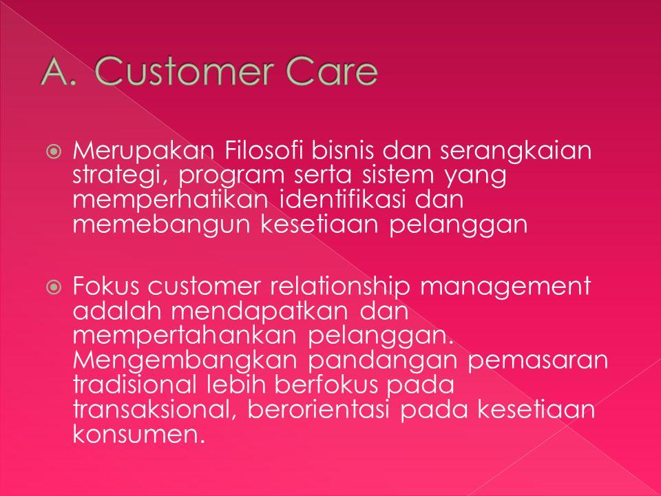 Merupakan Filosofi bisnis dan serangkaian strategi, program serta sistem yang memperhatikan identifikasi dan memebangun kesetiaan pelanggan  Fokus