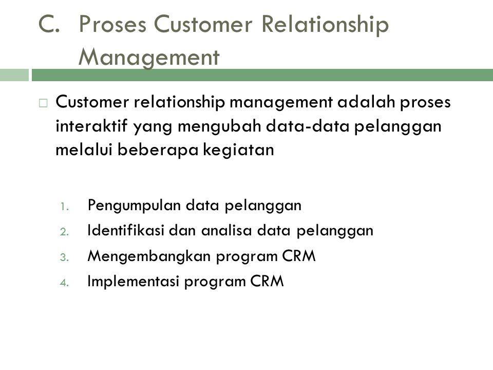 C.Proses Customer Relationship Management  Customer relationship management adalah proses interaktif yang mengubah data-data pelanggan melalui beberapa kegiatan 1.
