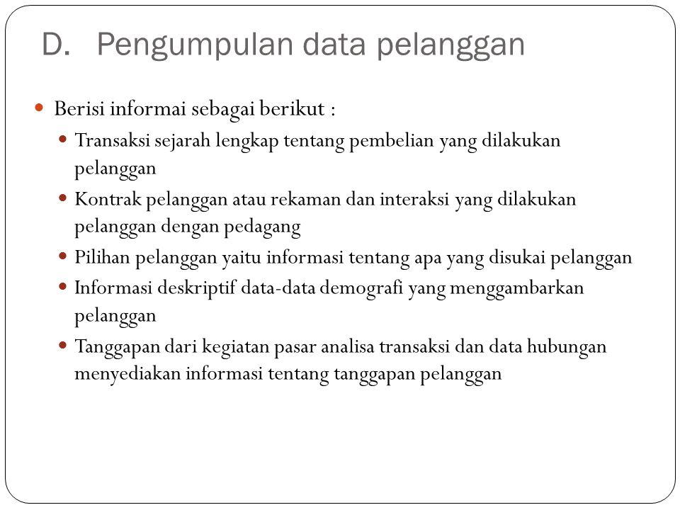  Identifikasi dan analisa data pelanggan Identifikasi segmen pasar Mengidentifikasi pelanggan terbaik  Pengembangan program CRM Program frekuensi belanja Pelayanan pelanggan spesial Personalisasi Komunikasi