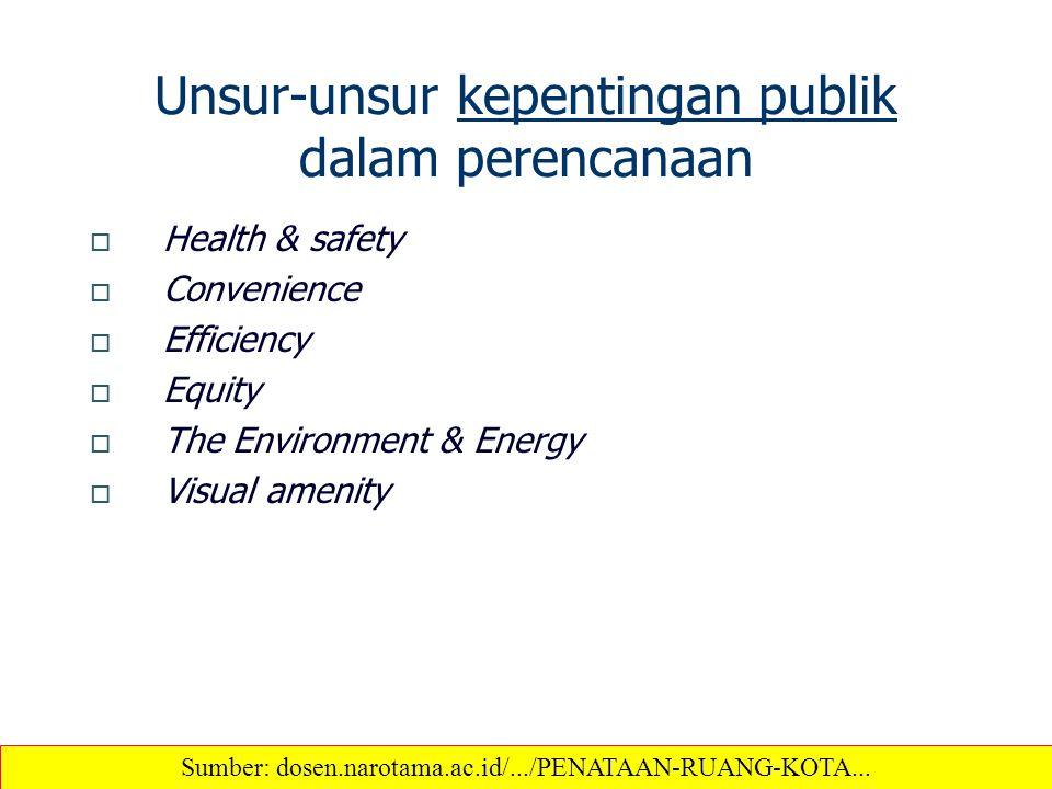 Unsur-unsur kepentingan publik dalam perencanaan  Health & safety  Convenience  Efficiency  Equity  The Environment & Energy  Visual amenity Sum