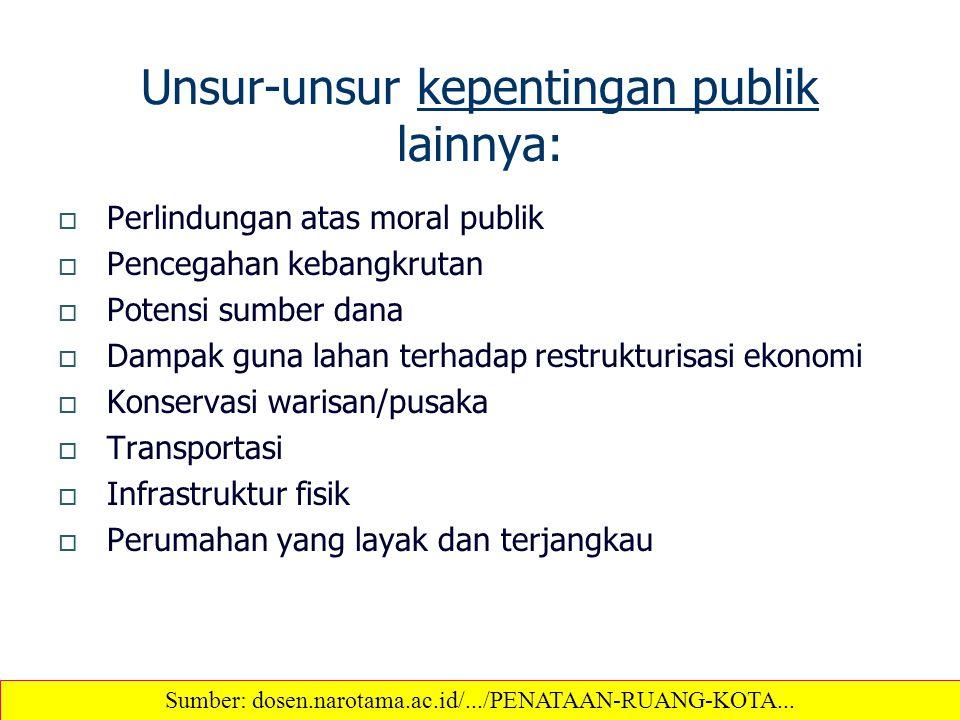 Unsur-unsur kepentingan publik lainnya:  Perlindungan atas moral publik  Pencegahan kebangkrutan  Potensi sumber dana  Dampak guna lahan terhadap