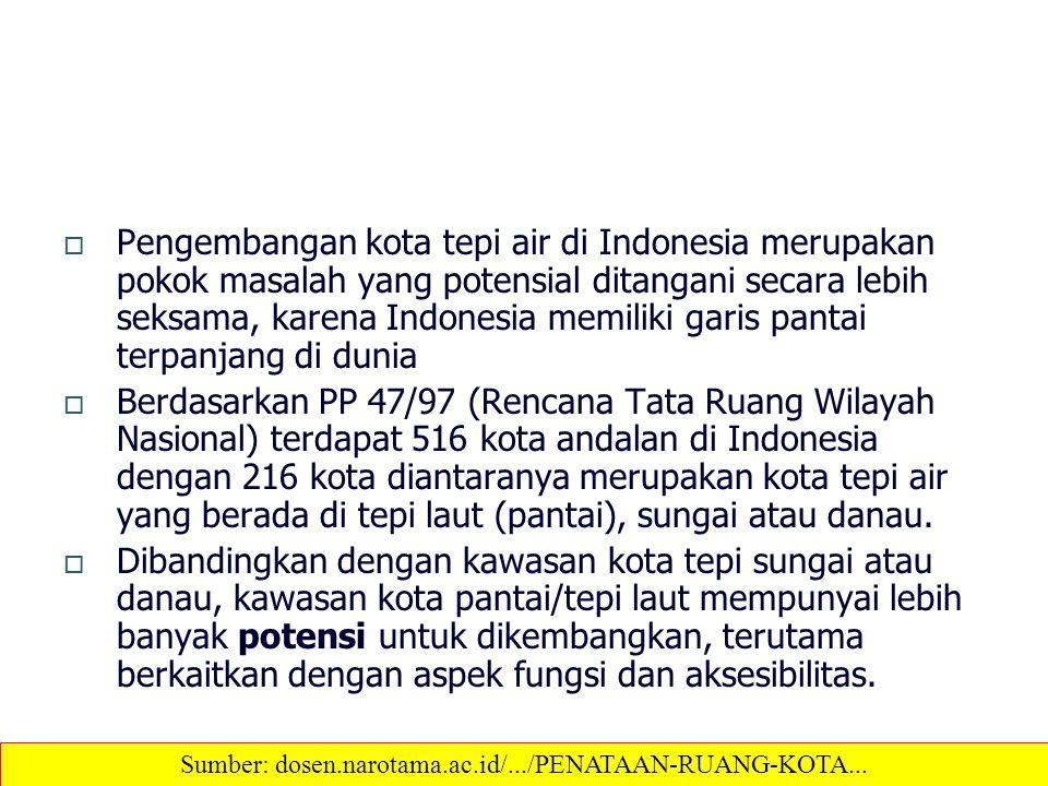  Pengembangan kota tepi air di Indonesia merupakan pokok masalah yang potensial ditangani secara lebih seksama, karena Indonesia memiliki garis panta