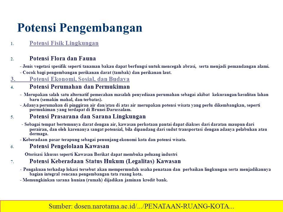 Potensi Pengembangan 1. Potensi Fisik Lingkungan Potensi Fisik Lingkungan 2. Potensi Flora dan Fauna - Jenis vegetasi spesifik seperti tanaman bakau d