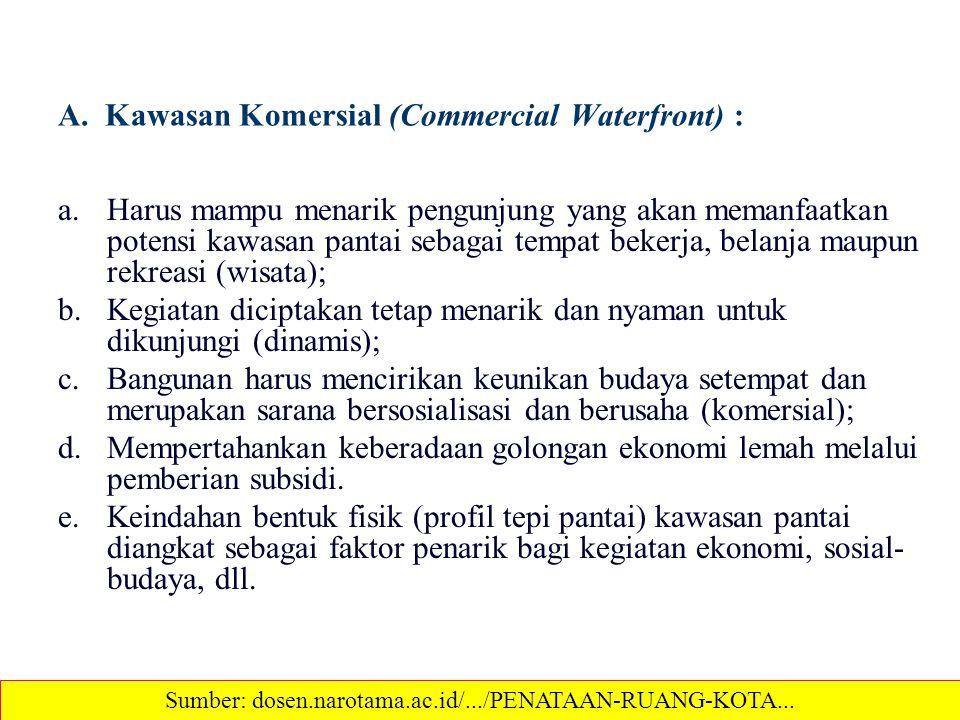 A. Kawasan Komersial (Commercial Waterfront) : a.Harus mampu menarik pengunjung yang akan memanfaatkan potensi kawasan pantai sebagai tempat bekerja,