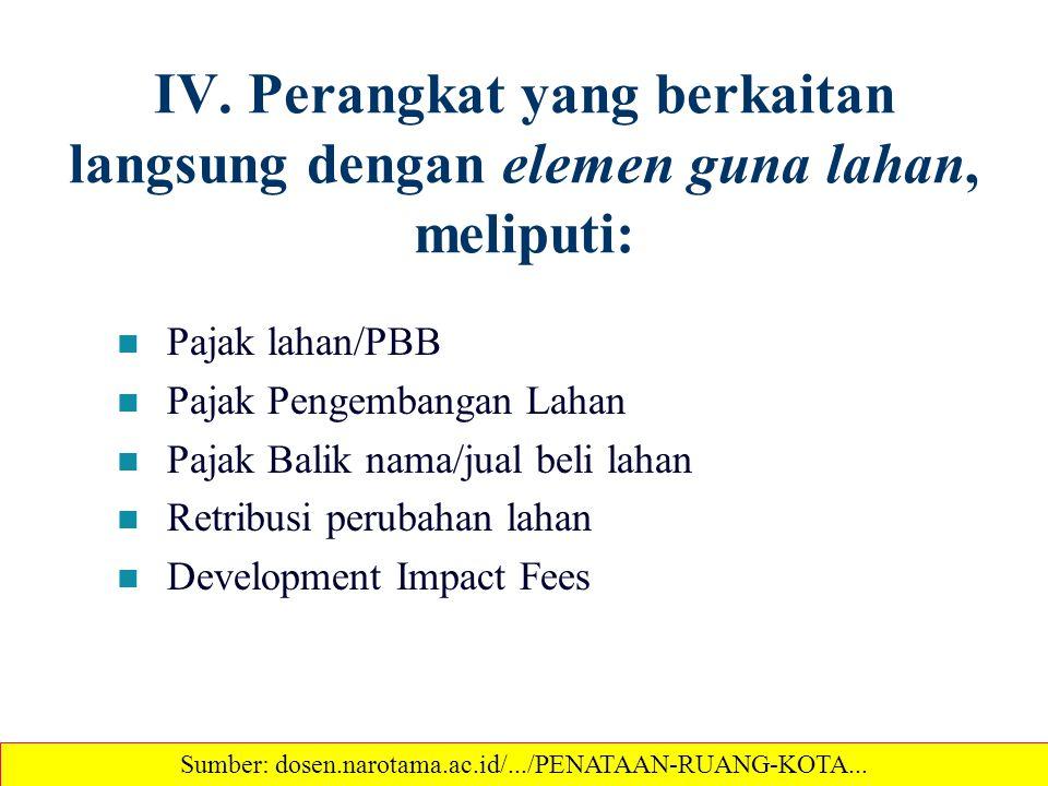 IV. Perangkat yang berkaitan langsung dengan elemen guna lahan, meliputi: Pajak lahan/PBB Pajak Pengembangan Lahan Pajak Balik nama/jual beli lahan Re