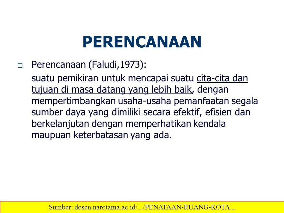 PERENCANAAN  Perencanaan (Faludi,1973): suatu pemikiran untuk mencapai suatu cita-cita dan tujuan di masa datang yang lebih baik, dengan mempertimban