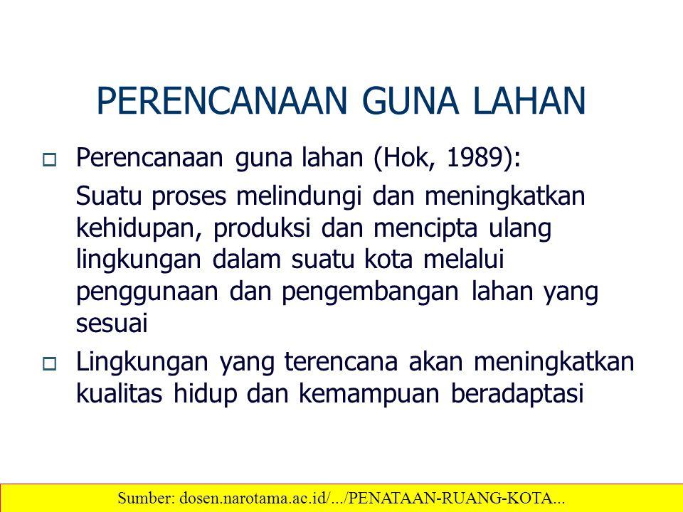 PERENCANAAN GUNA LAHAN  Perencanaan guna lahan (Hok, 1989): Suatu proses melindungi dan meningkatkan kehidupan, produksi dan mencipta ulang lingkunga