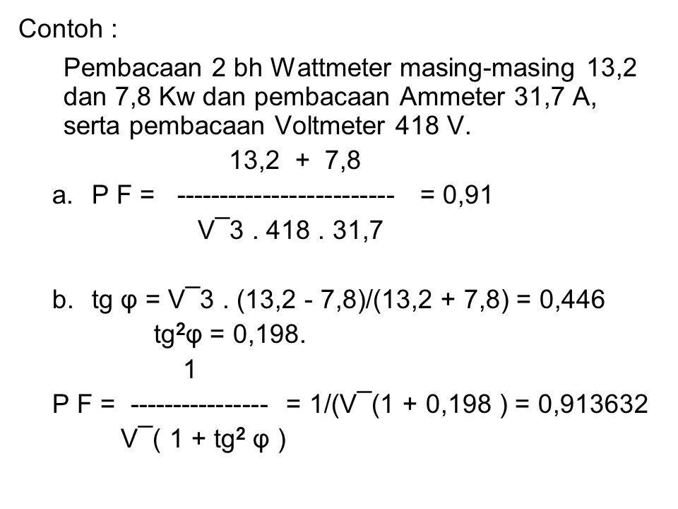 Contoh : Pembacaan 2 bh Wattmeter masing-masing 13,2 dan 7,8 Kw dan pembacaan Ammeter 31,7 A, serta pembacaan Voltmeter 418 V. 13,2 + 7,8 a.P F = ----