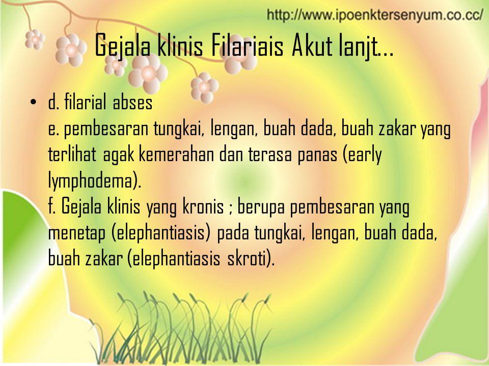 Gejala klinis Filariais Akut lanjt... d. filarial abses e. pembesaran tungkai, lengan, buah dada, buah zakar yang terlihat agak kemerahan dan terasa p