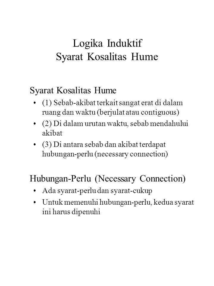Logika Induktif Syarat Kosalitas Hume Syarat Kosalitas Hume (1) Sebab-akibat terkait sangat erat di dalam ruang dan waktu (berjulat atau contiguous) (