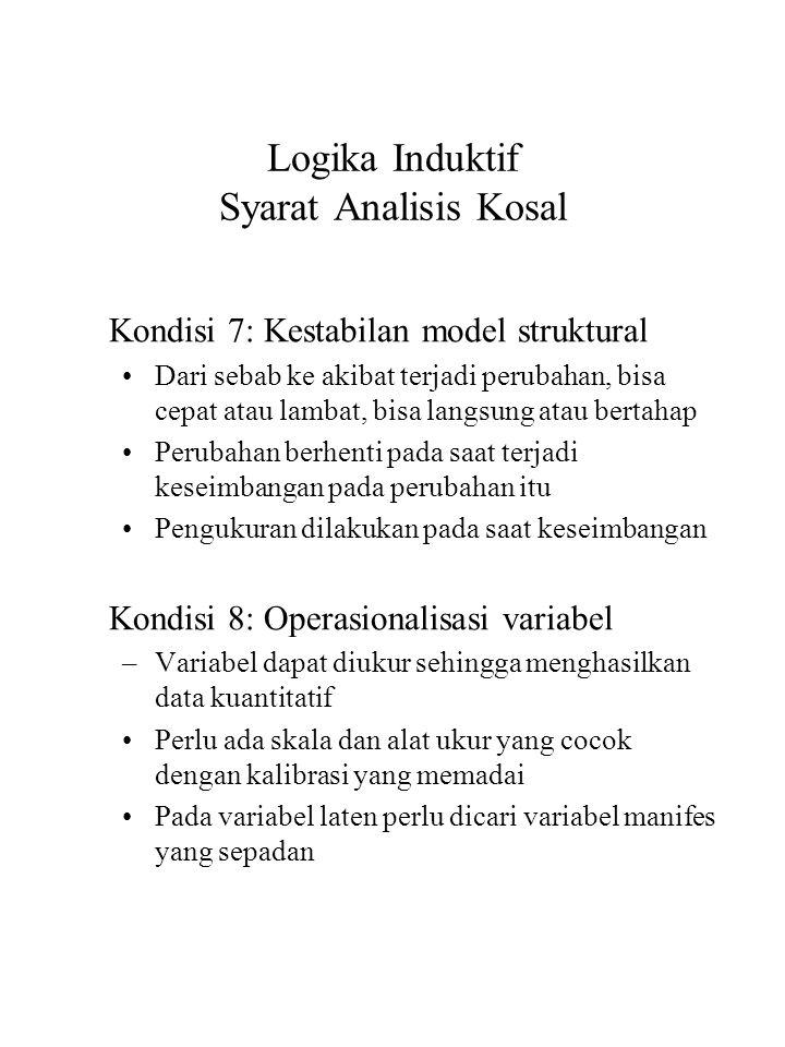 Logika Induktif Syarat Analisis Kosal Kondisi 7: Kestabilan model struktural Dari sebab ke akibat terjadi perubahan, bisa cepat atau lambat, bisa lang