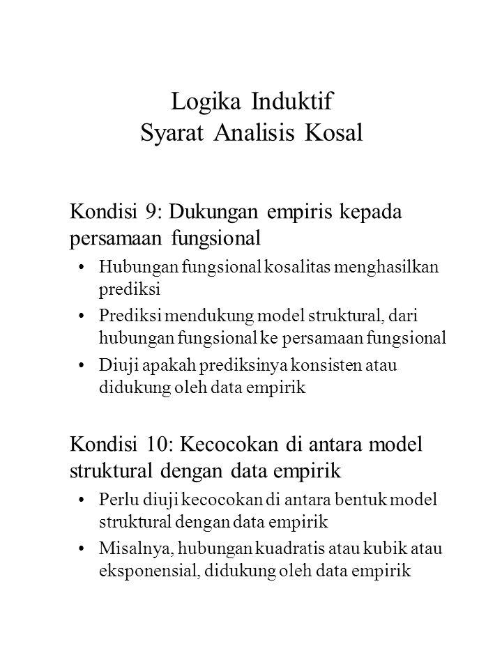 Logika Induktif Syarat Analisis Kosal Kondisi 9: Dukungan empiris kepada persamaan fungsional Hubungan fungsional kosalitas menghasilkan prediksi Pred