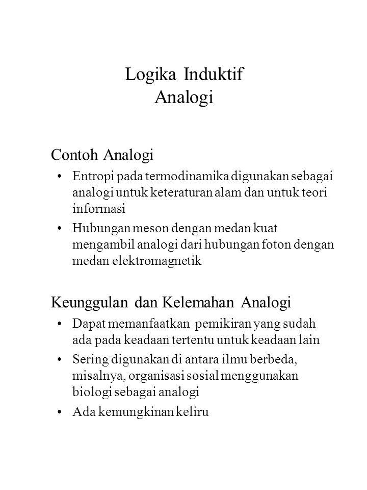 Logika Induktif Analogi Contoh Analogi Entropi pada termodinamika digunakan sebagai analogi untuk keteraturan alam dan untuk teori informasi Hubungan
