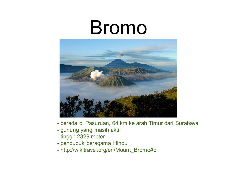 Bromo - berada di Pasuruan, 64 km ke arah Timur dari Surabaya - gunung yang masih aktif - tinggi: 2329 meter - penduduk beragama Hindu - http://wikitravel.org/en/Mount_Bromo#b