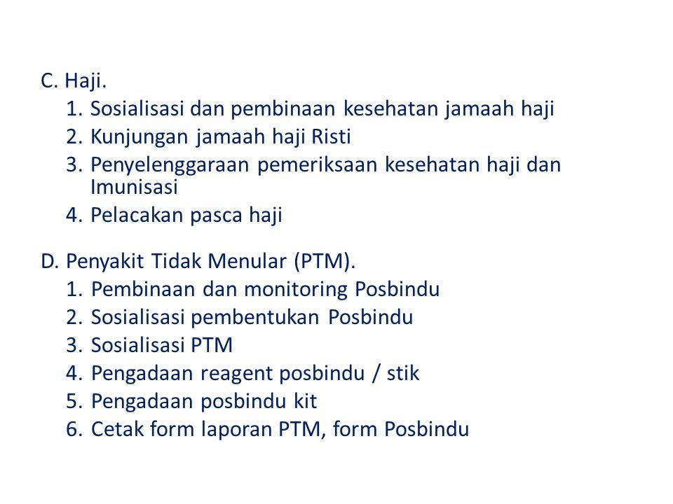 C. Haji. 1.Sosialisasi dan pembinaan kesehatan jamaah haji 2.Kunjungan jamaah haji Risti 3.Penyelenggaraan pemeriksaan kesehatan haji dan Imunisasi 4.