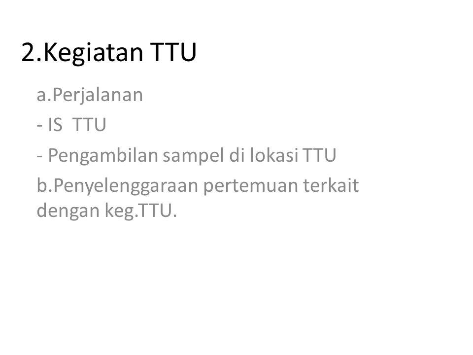 2.Kegiatan TTU a.Perjalanan - IS TTU - Pengambilan sampel di lokasi TTU b.Penyelenggaraan pertemuan terkait dengan keg.TTU.