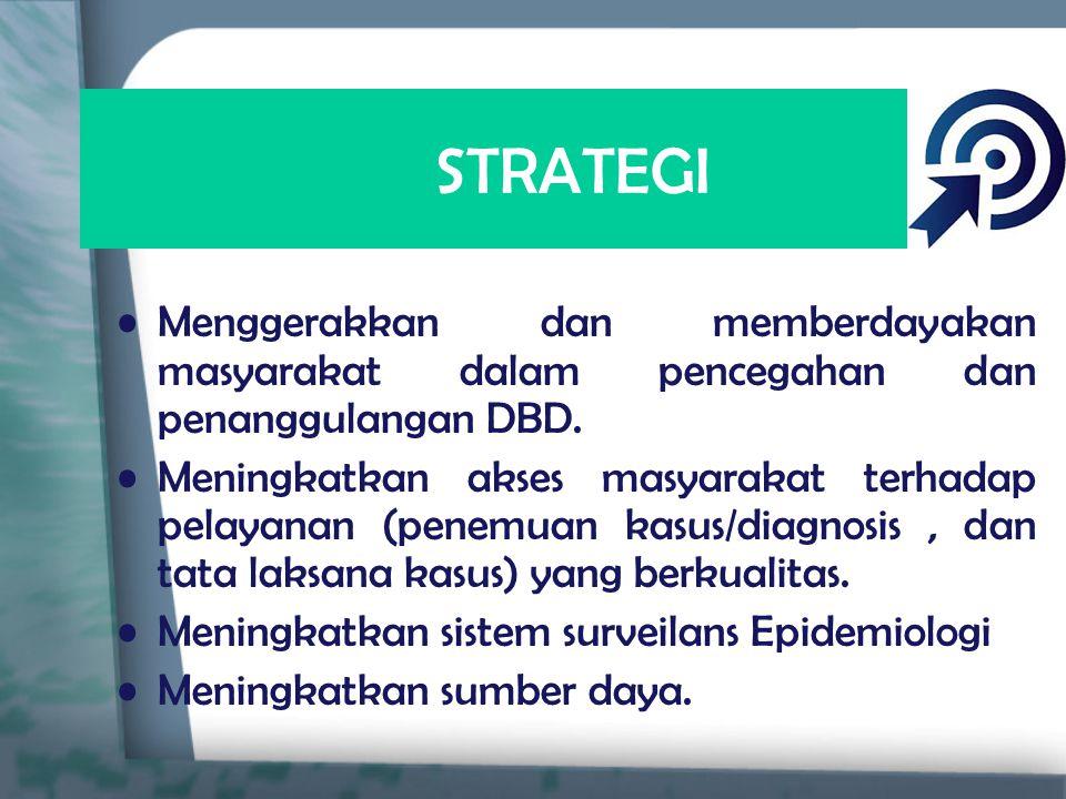 STRATEGI Menggerakkan dan memberdayakan masyarakat dalam pencegahan dan penanggulangan DBD. Meningkatkan akses masyarakat terhadap pelayanan (penemuan