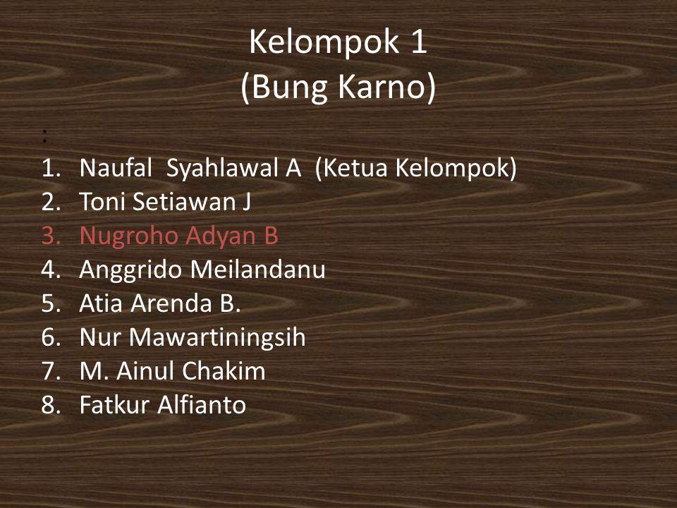 Kelompok 1 (Bung Karno) : 1.Naufal Syahlawal A (Ketua Kelompok) 2.Toni Setiawan J 3.Nugroho Adyan B 4.Anggrido Meilandanu 5.Atia Arenda B. 6.Nur Mawar