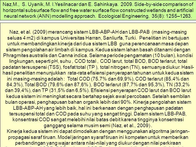 Naz, et al. (2009) merancang sistem LBB-ABP-AH dan LBB-PAB (masing-masing seluas 4 m2) di kampus Universitas Harran, Sanliurfa, Turki. Penelitian ini