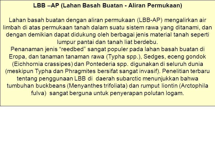 LBB –AP (Lahan Basah Buatan - Aliran Permukaan) Lahan basah buatan dengan aliran permukaan (LBB-AP) mengalirkan air limbah di atas permukaan tanah dal