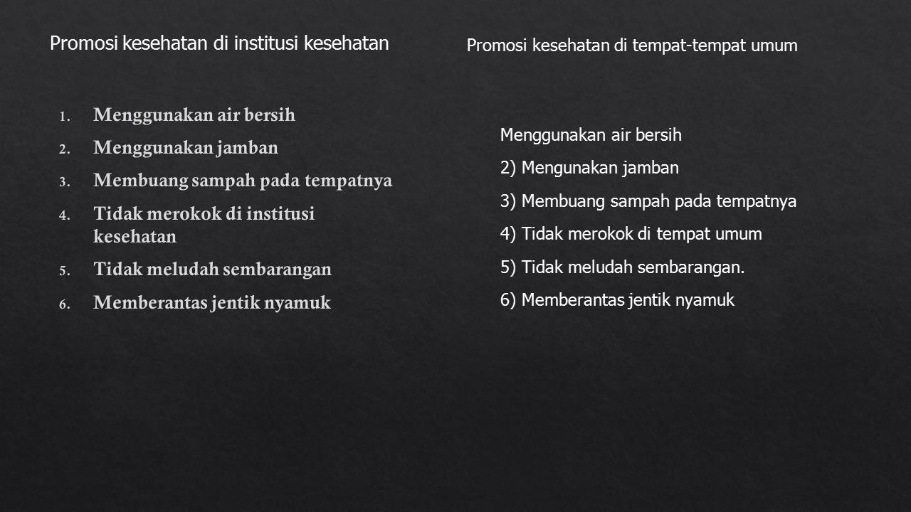 Promosi kesehatan di institusi kesehatan Promosi kesehatan di tempat-tempat umum Menggunakan air bersih 2) Mengunakan jamban 3) Membuang sampah pada tempatnya 4) Tidak merokok di tempat umum 5) Tidak meludah sembarangan.