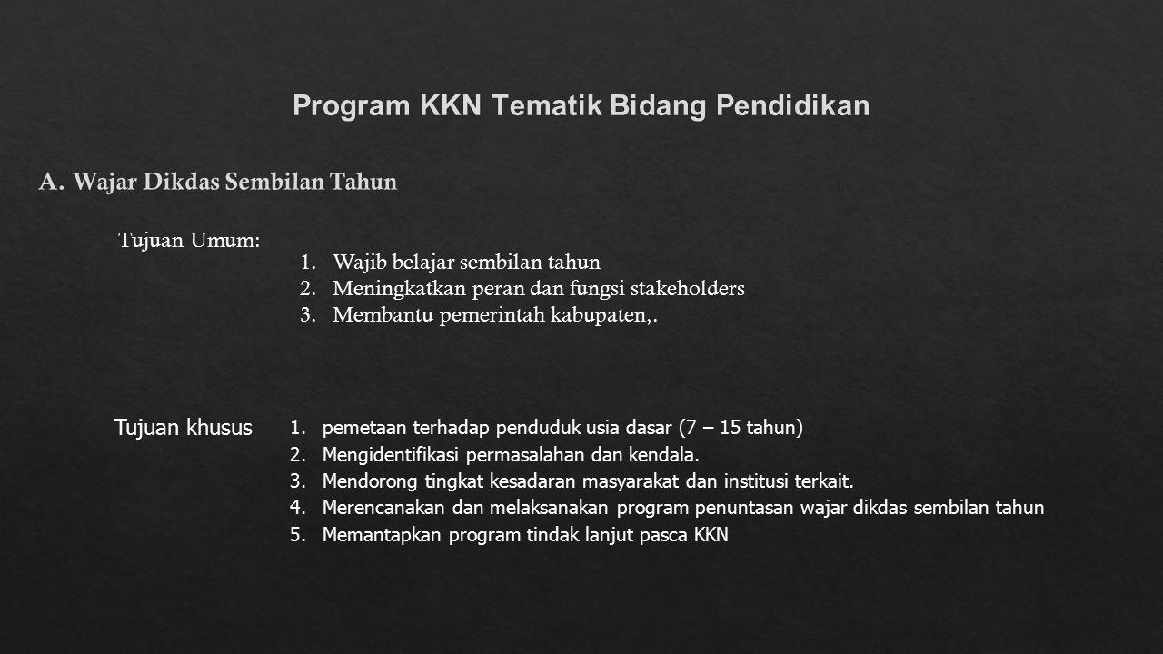 Program KKN Tematik Bidang Pendidikan 1.Wajib belajar sembilan tahun 2.Meningkatkan peran dan fungsi stakeholders 3.Membantu pemerintah kabupaten,. Tu