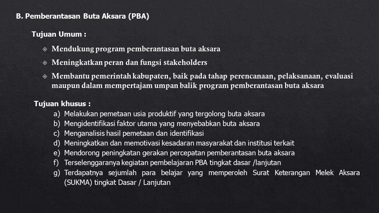 B. Pemberantasan Buta Aksara (PBA) Tujuan Umum : Tujuan khusus : a)Melakukan pemetaan usia produktif yang tergolong buta aksara b)Mengidentifikasi fak