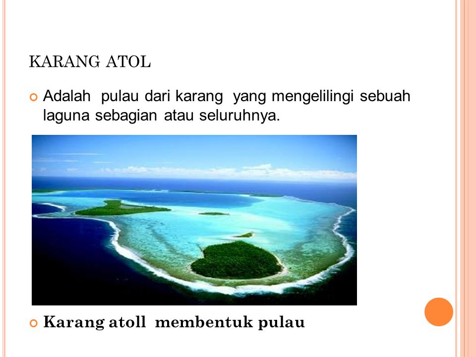 KARANG ATOL Adalah pulau dari karang yang mengelilingi sebuah laguna sebagian atau seluruhnya. Karang atoll membentuk pulau