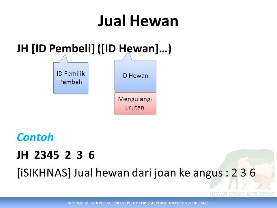 AUSTRALIA INDONESIA PARTNERSHIP FOR EMERGING INFECTIOUS DISEASES Jual Hewan JH [ID Pembeli] ([ID Hewan]…) Contoh JH 2345 2 3 6 [iSIKHNAS] Jual hewan d