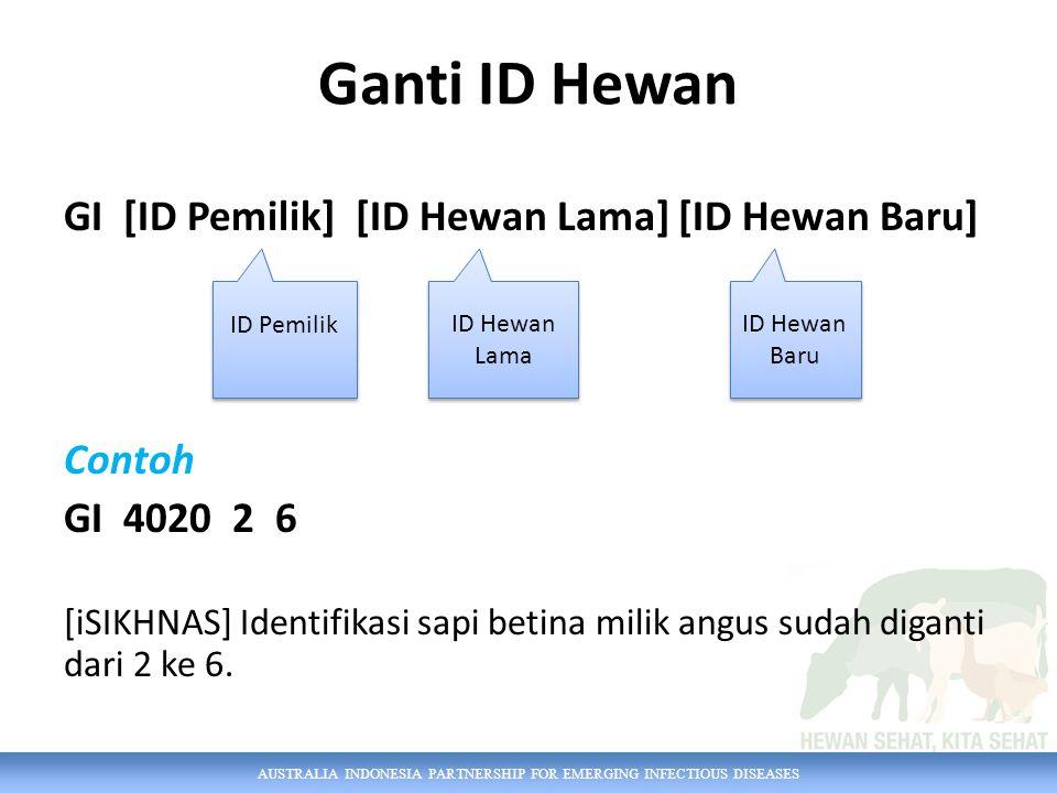 AUSTRALIA INDONESIA PARTNERSHIP FOR EMERGING INFECTIOUS DISEASES Ganti ID Hewan GI [ID Pemilik] [ID Hewan Lama] [ID Hewan Baru] Contoh GI 4020 2 6 [iS