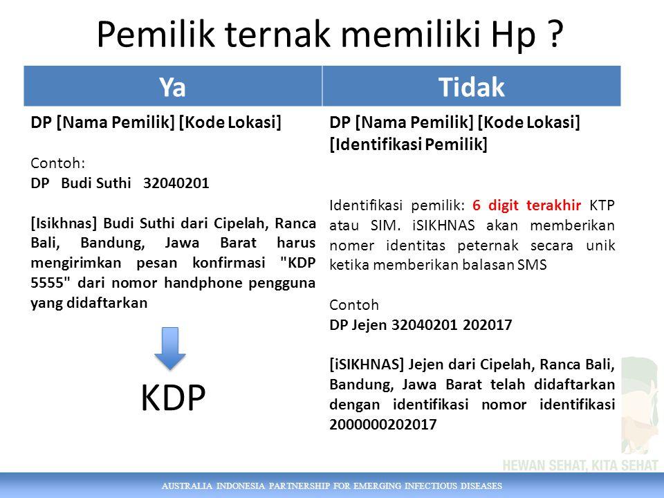 AUSTRALIA INDONESIA PARTNERSHIP FOR EMERGING INFECTIOUS DISEASES Pemilik ternak memiliki Hp ? YaTidak DP [Nama Pemilik] [Kode Lokasi] Contoh: DP Budi