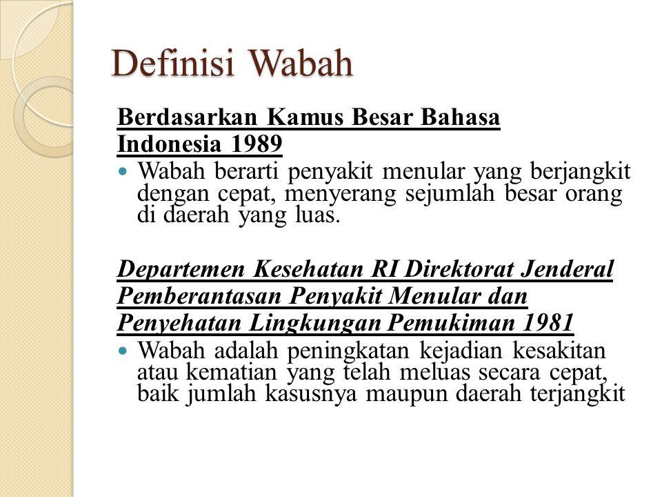 Definisi Wabah Berdasarkan Kamus Besar Bahasa Indonesia 1989 Wabah berarti penyakit menular yang berjangkit dengan cepat, menyerang sejumlah besar ora