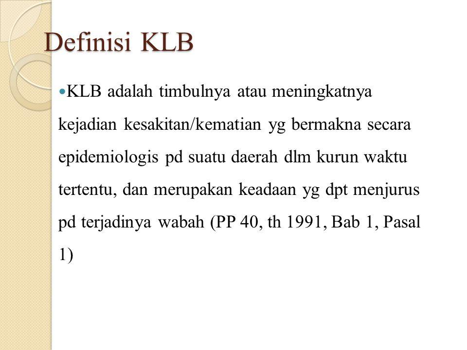 Selain kata wabah letusan (outbreak) kejadian luar biasa (KLB = unusual event) Di Indonesia pernyataan adanya wabah hanya boleh ditetapkan oleh Menteri Kesehatan KLB dapat ditetapkan oleh Kepala Dinas KEsehatan